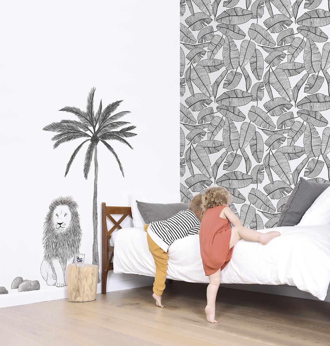 Papier Peint Noir Et Blanc Graphique palmes noir et blanc - papier peint de lilipinso
