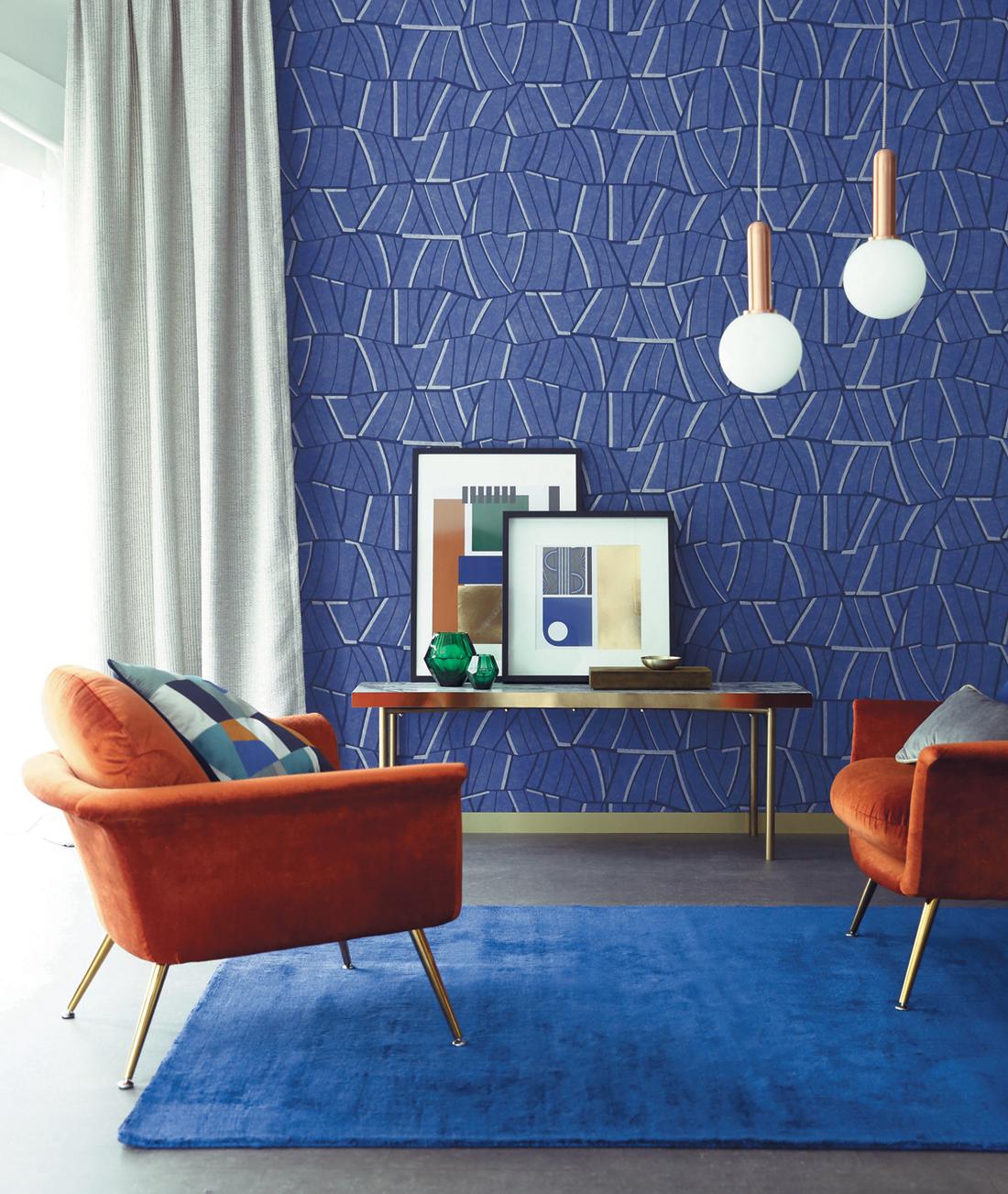 Papier Peint Lalique Bleu Klein Ellington De Casamance