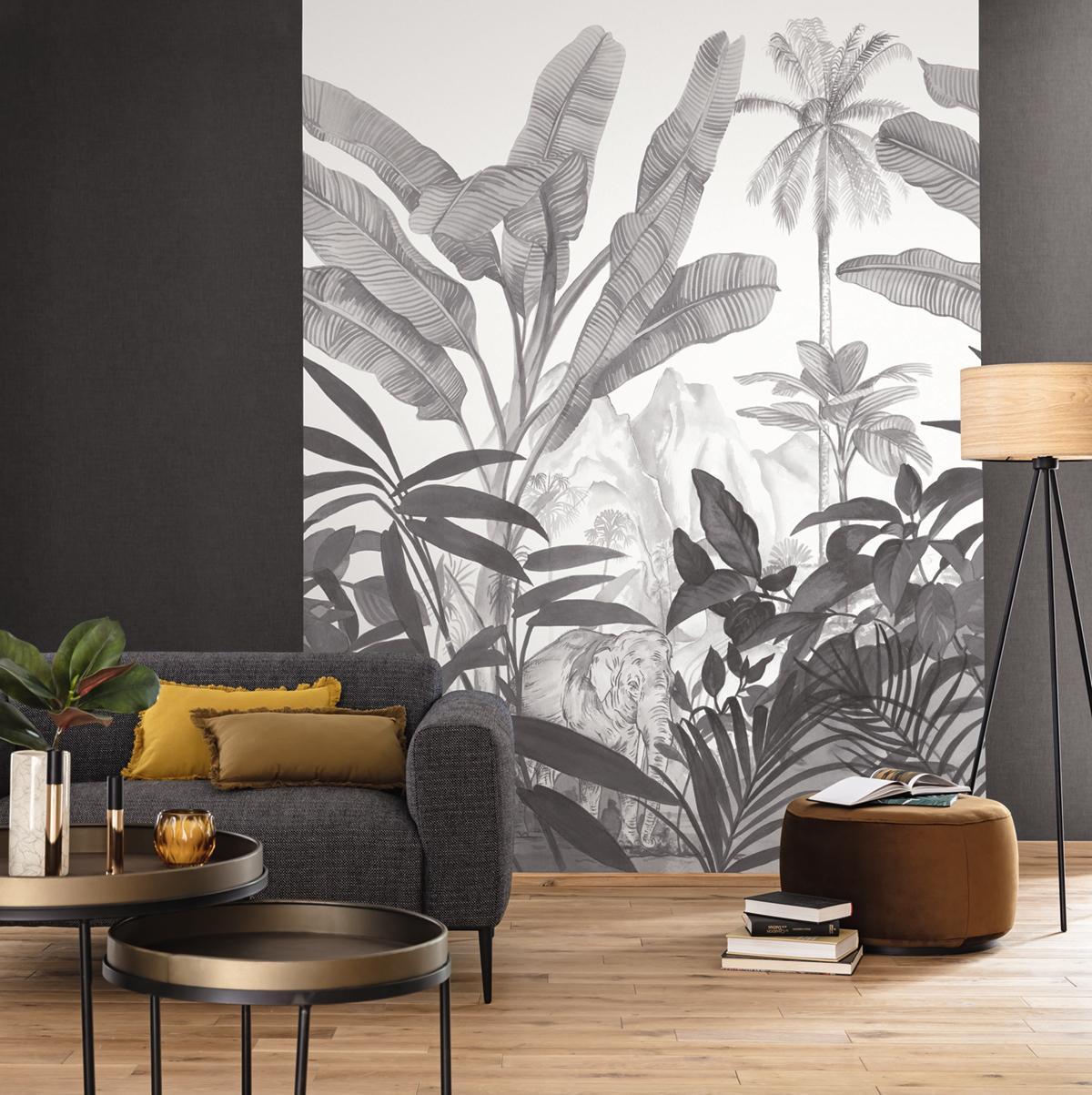 Papier Peint Panoramique Jungle Elephant Hathi Noir Et Blanc Moonlight De Caselio