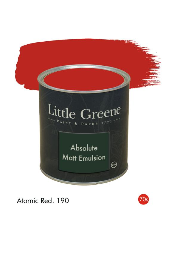 Atomic Red (1970s) n°190. Peinture Absolute Matt Emulsion Little Greene