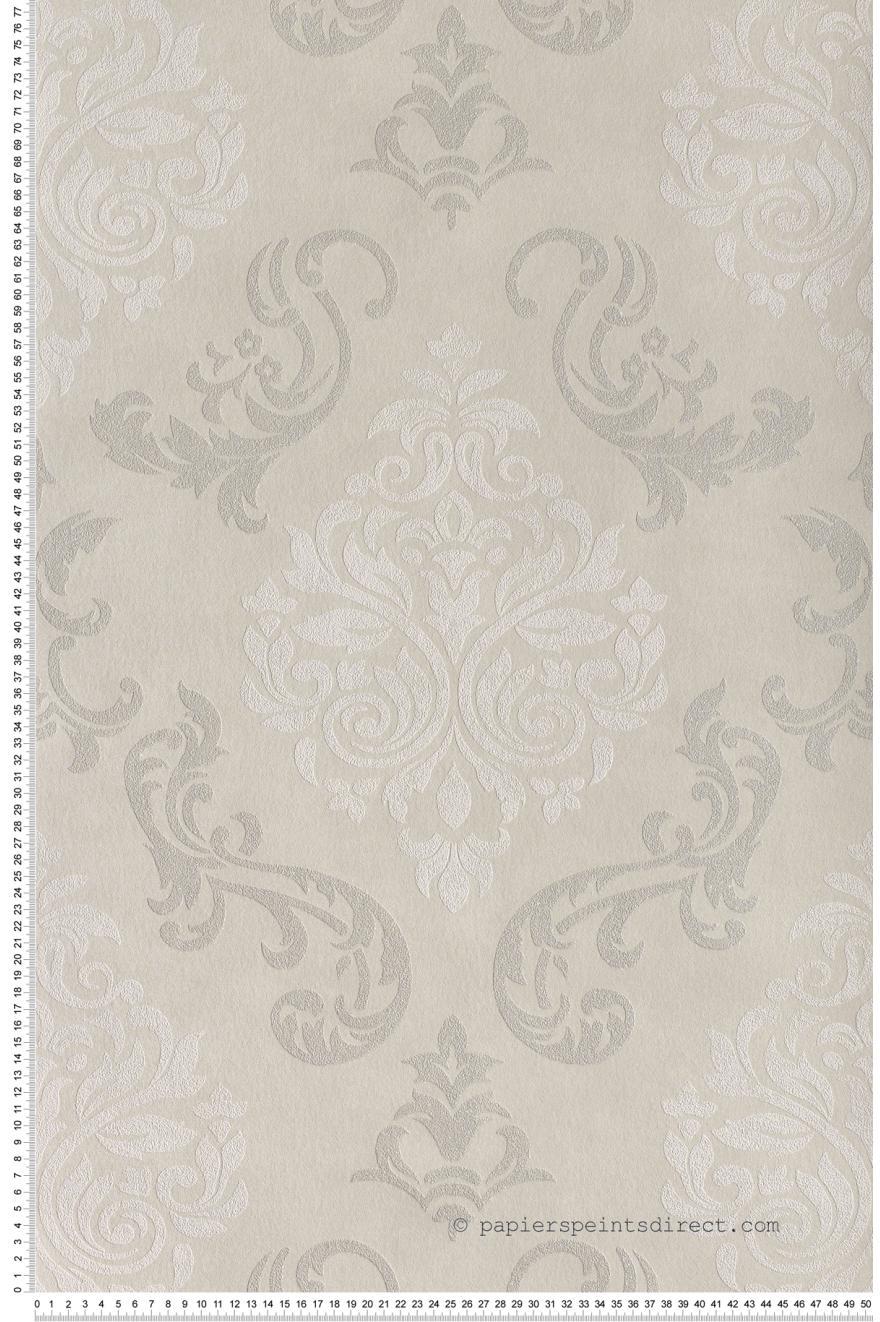 Papier Peint Medaillons A Paillettes Gris Clair Memory 2 Et 3 As