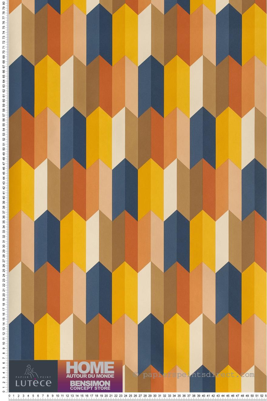 Papier Peint Parallelogrammes 3d Orange Bensimon De Lutece Ref