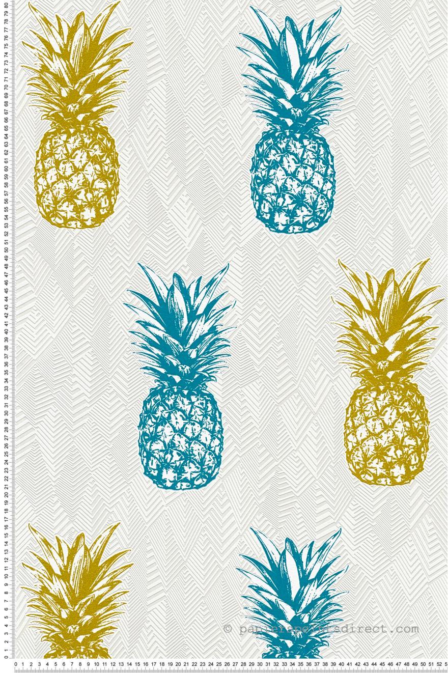 Papier peint Ananas or et bleu canard   Club Tropicana AS Création