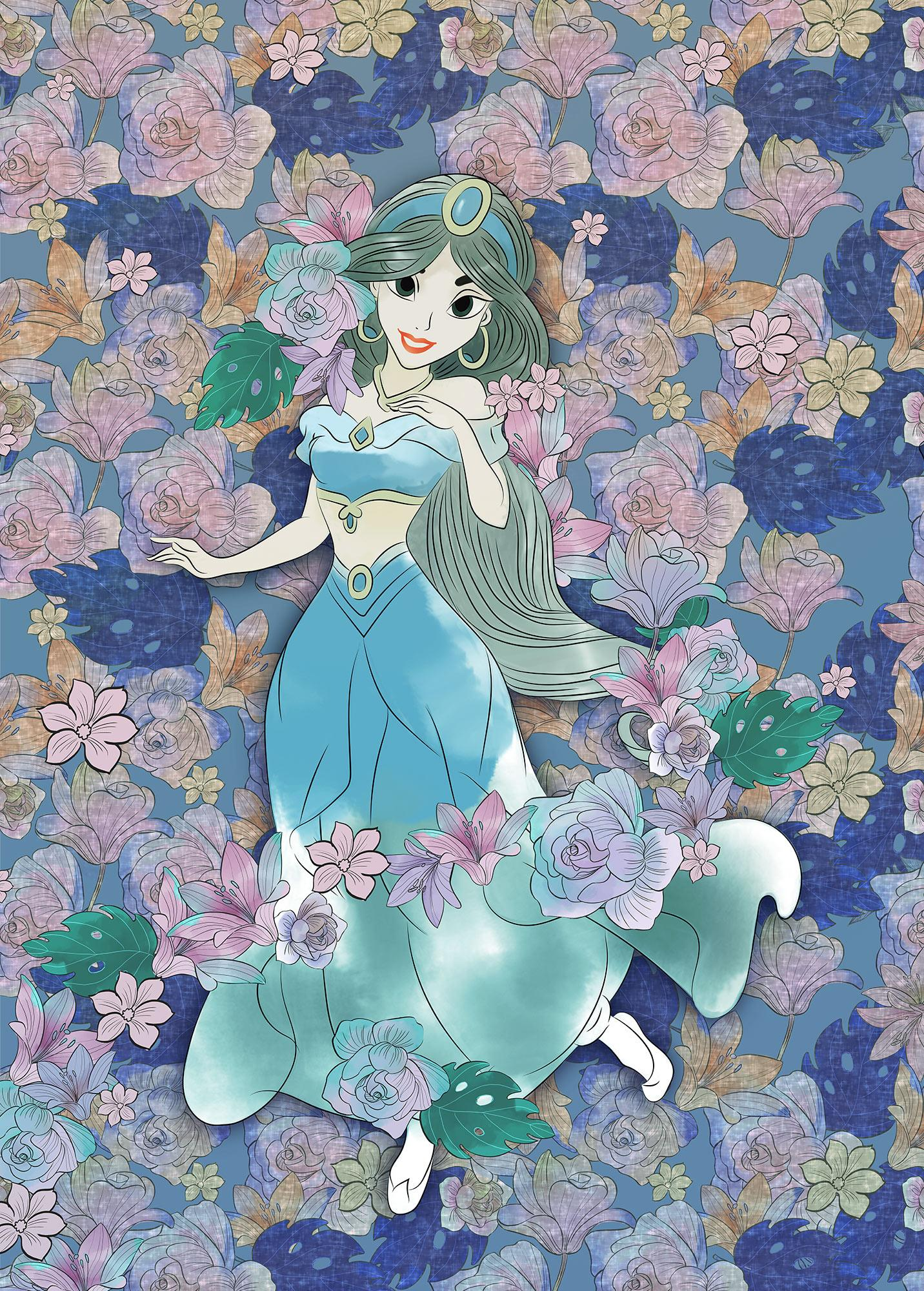Papier peint enfant Disney Jasmine Colored Flowers - Papier peint Panoramique Komar