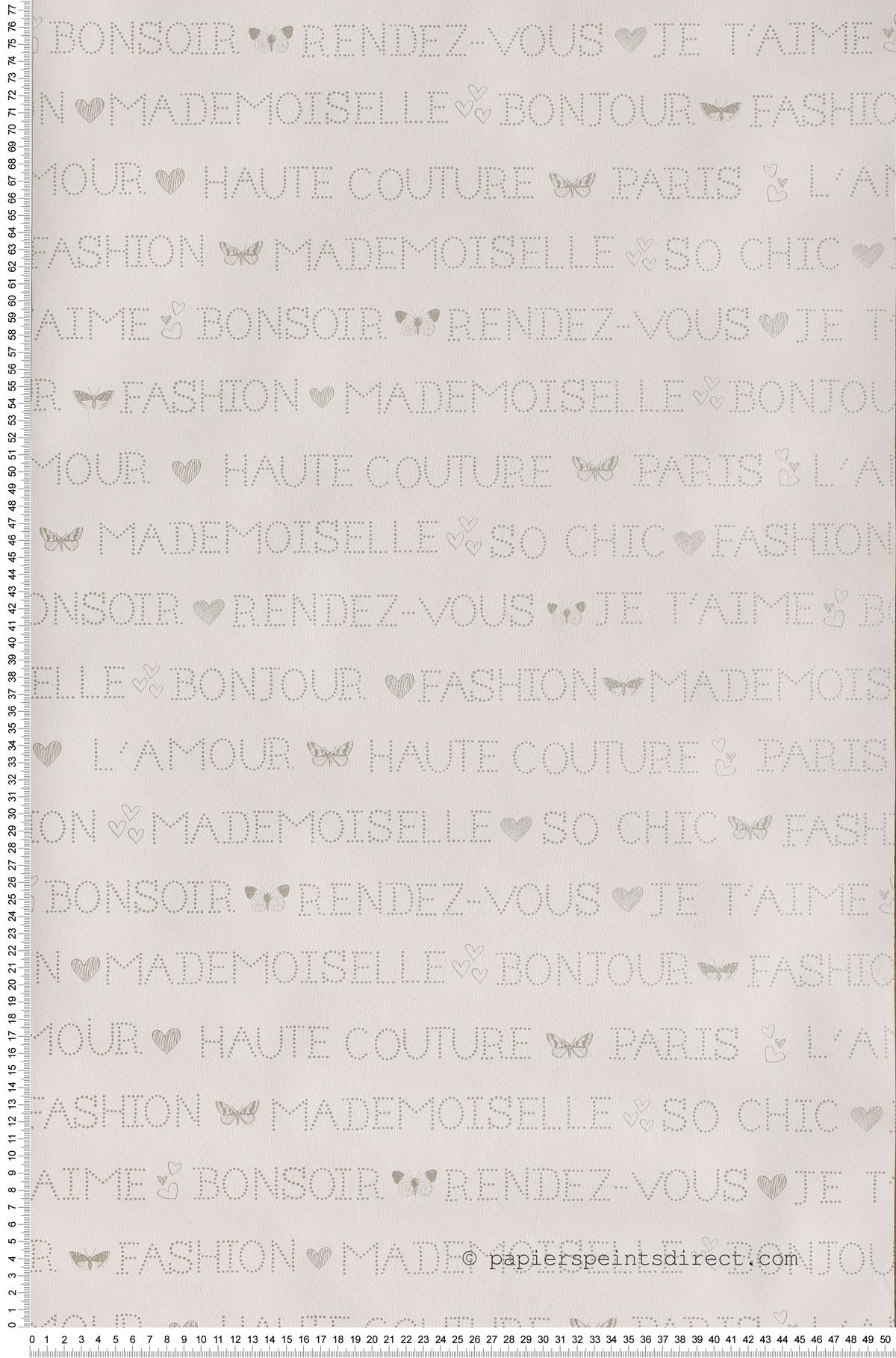 Paris wording Girls Only - papier peint Casélio