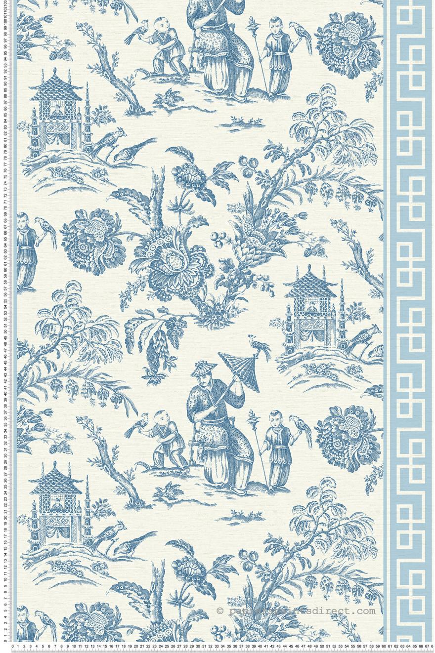 toile de jouy chinoise bordures bleu collection. Black Bedroom Furniture Sets. Home Design Ideas