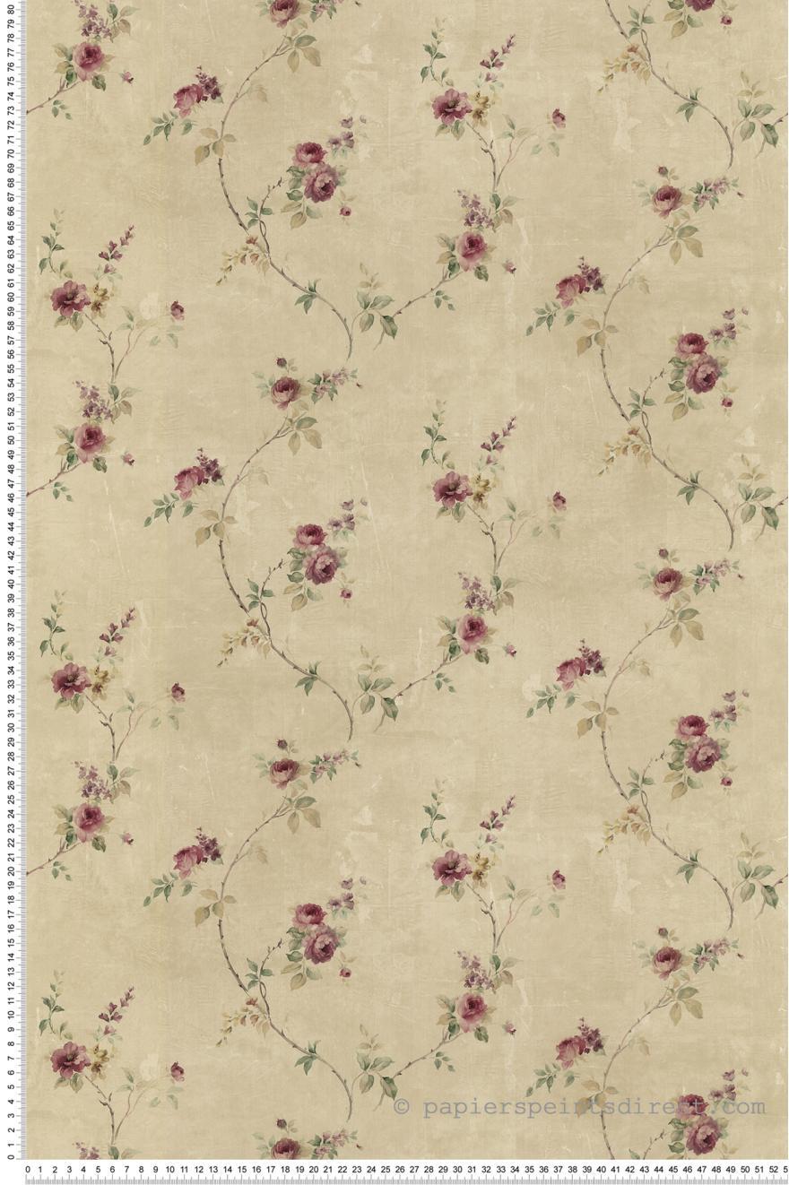 Papier Peint Fleurs et épines vieux rose   Les jardins d'Hortense