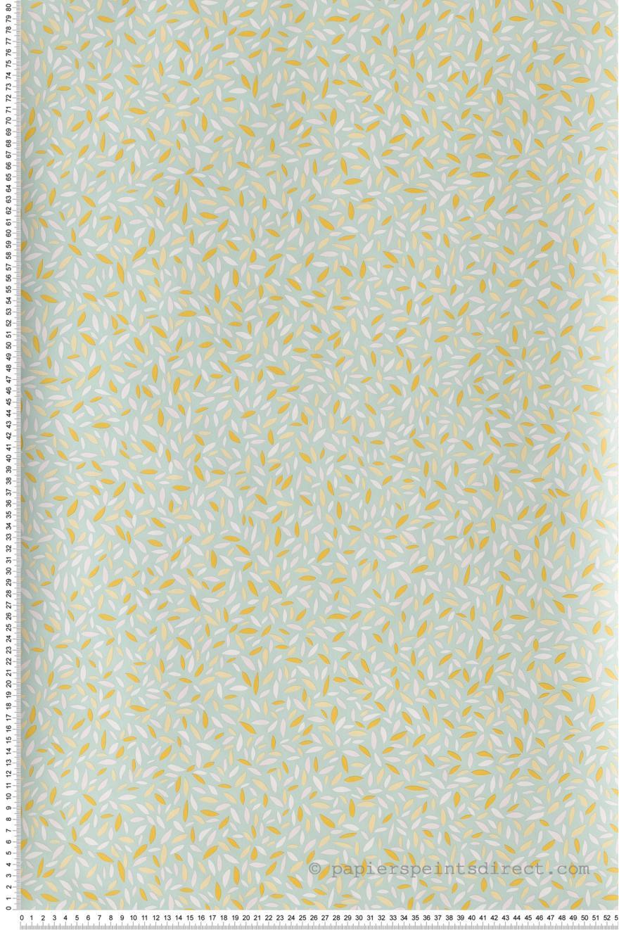 Papier Peint Pepins Orange Et Vert D Eau Jungle De Caselio Ref