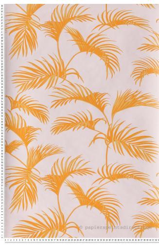 Papier Peint Palmes Blanc Bleu Fond Orange Jungle De Caselio Ref