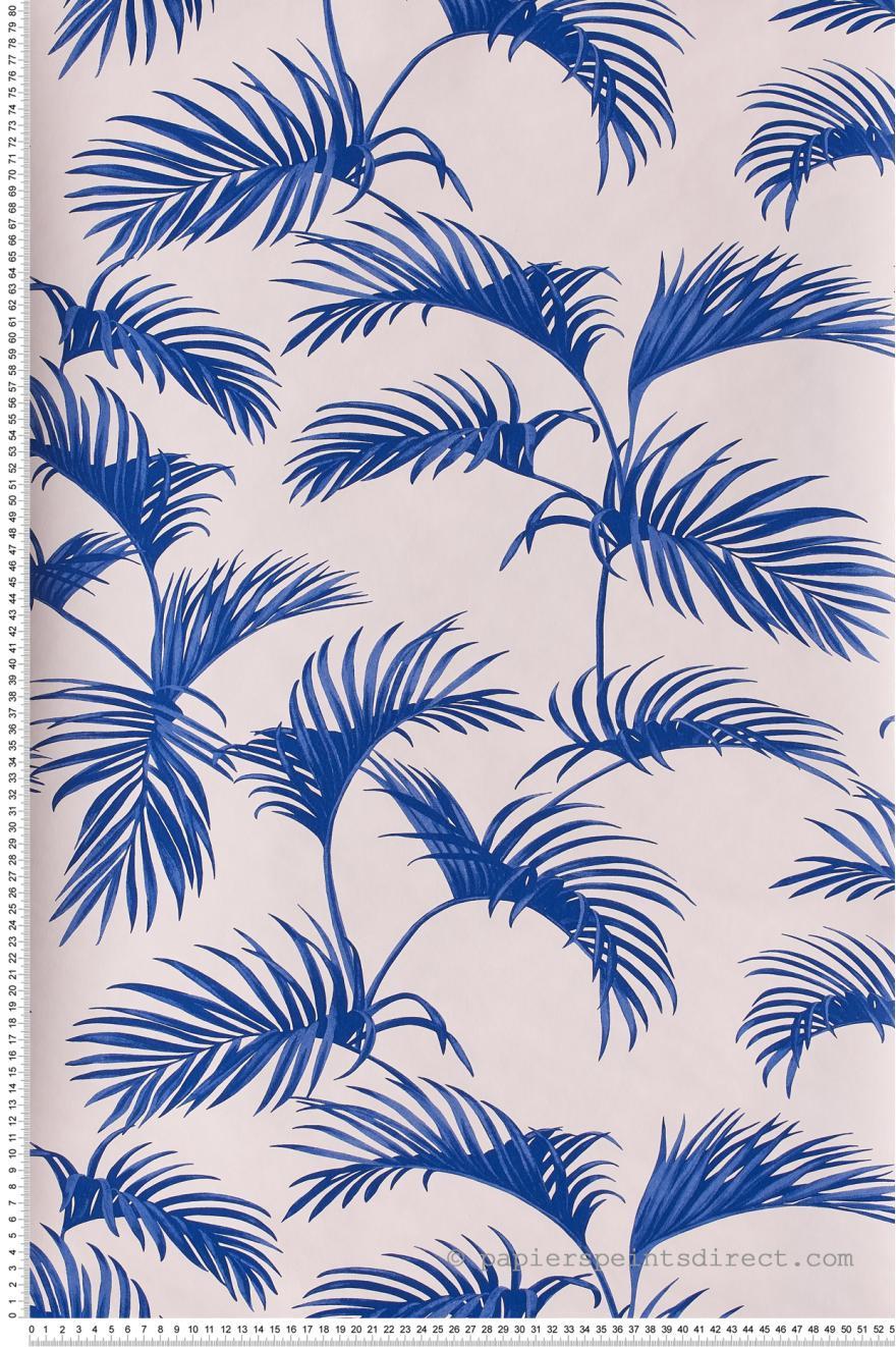 Papier Peint Palmes Bleu Electrique Fond Blanc Jungle De Caselio