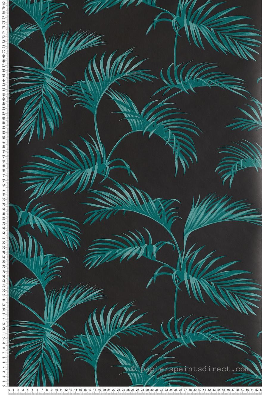 Papier Peint Palmes Vert Fond Noir Jungle De Caselio Ref
