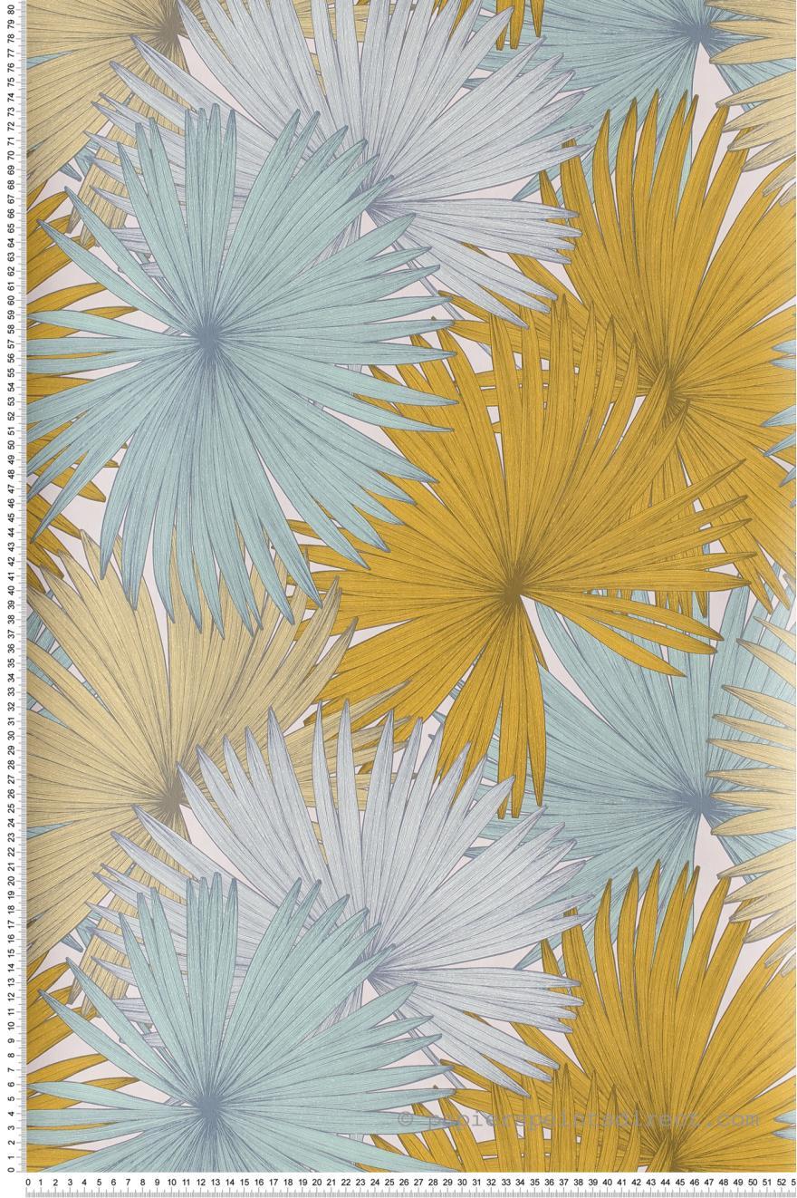 Papier Peint Coconut Jaune Et Bleu Vert Jungle De Caselio Ref