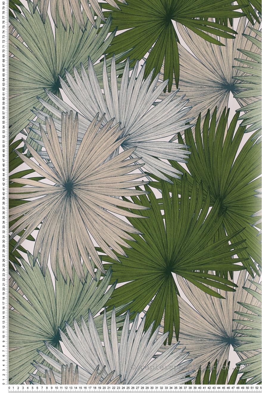 Papier Peint Coconut Vert Et Blanc Jungle De Caselio Ref