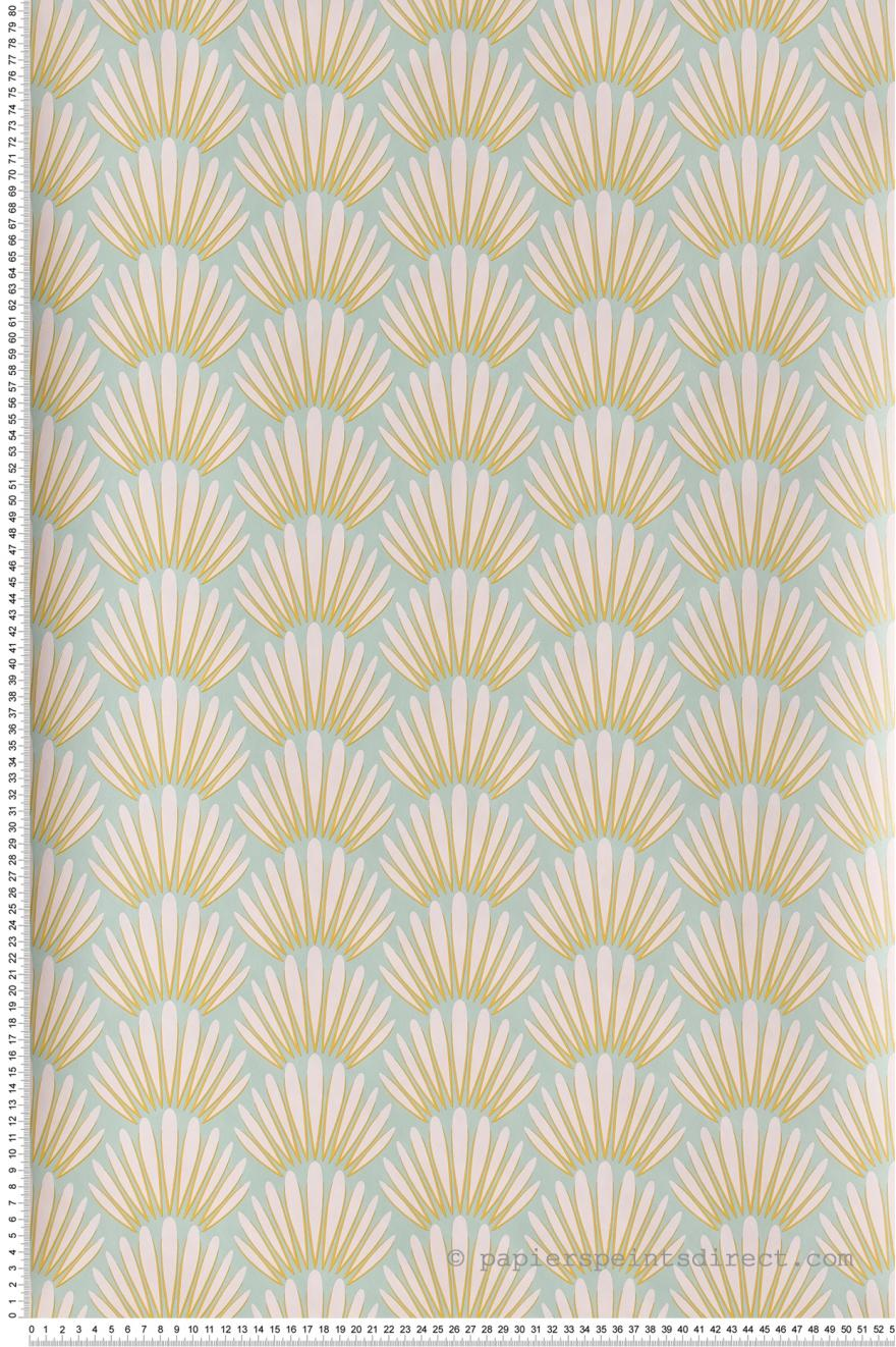 Papier Peint Palmes Blanche Jaune Fond Vert D Eau Jungle De