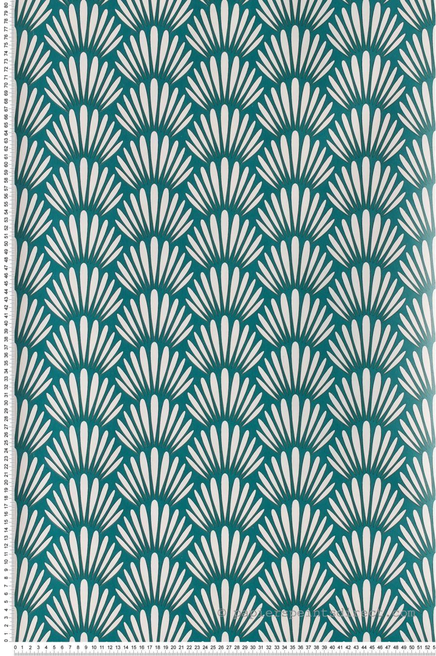 Papier Peint Palmes Blanc Fond Bleu Vert Jungle De Caselio Ref