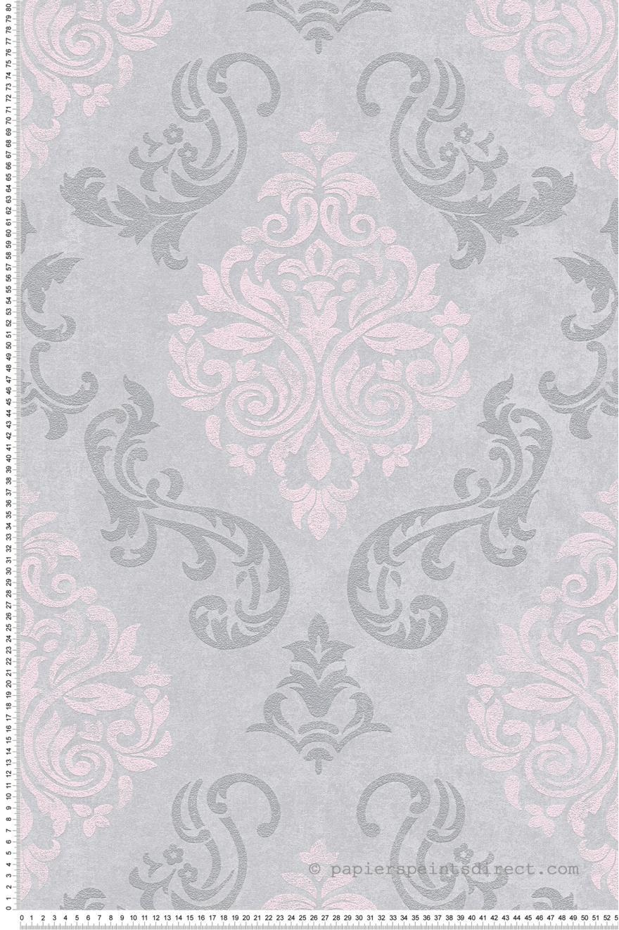 Papier Peint Medaillons A Paillettes Gris Et Rose Memory 3 As