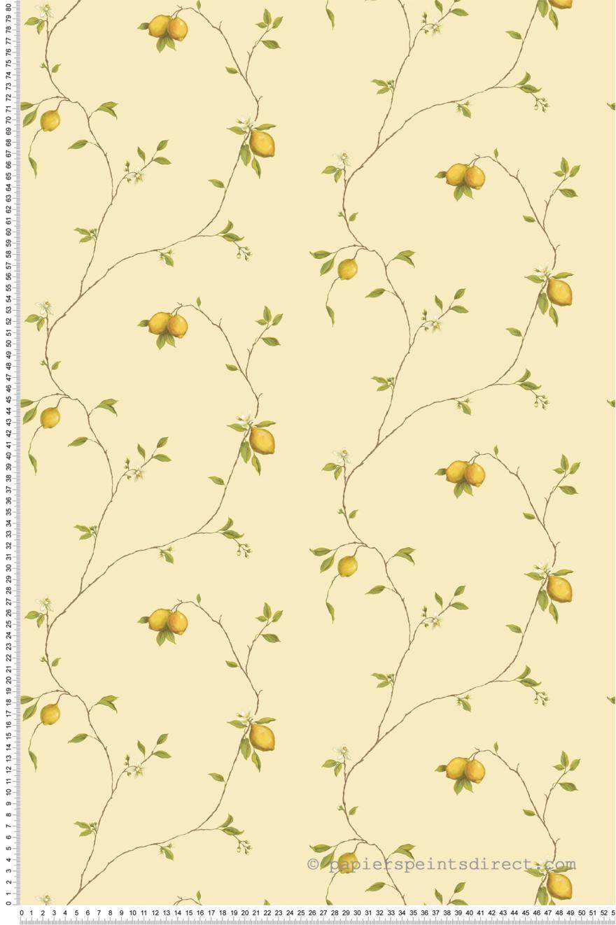 Papier Peint Citrons fond jaune - Nouvelle cuisine 5 de ...