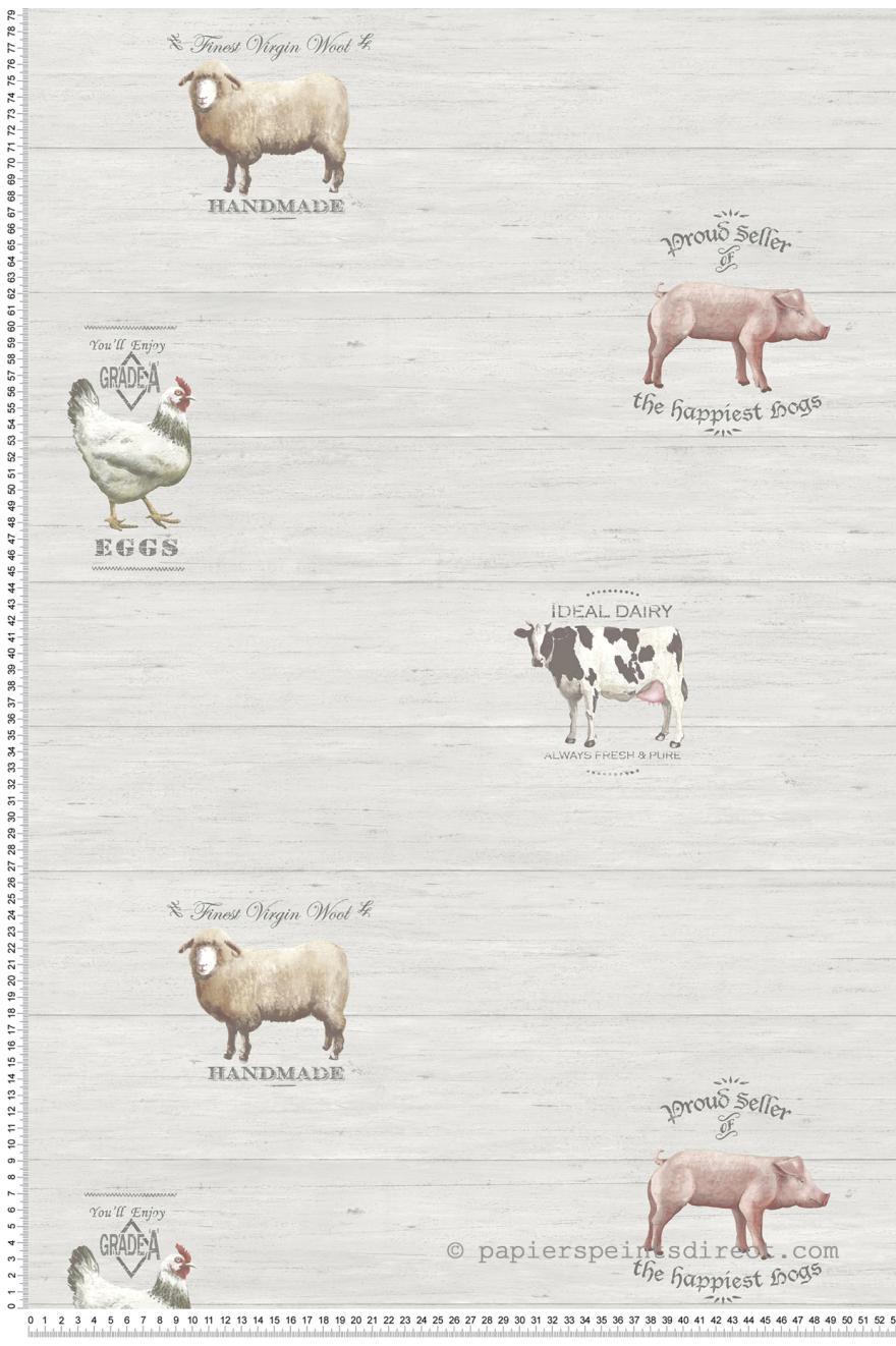 Papier Peint Animaux De La Ferme Gris Nouvelle Cuisine 5 De Lutece
