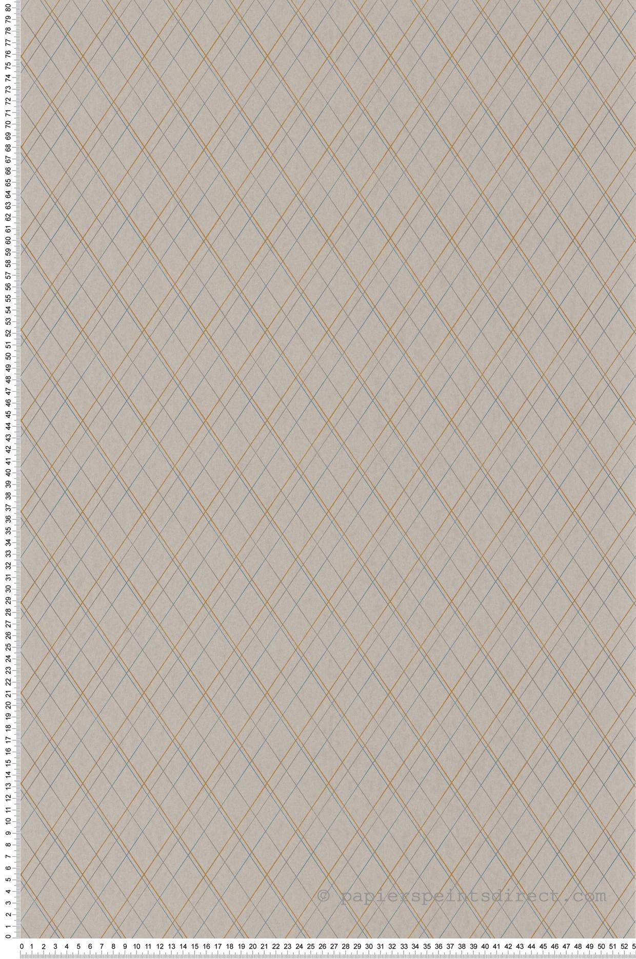 Papier peint carreaux Burlington Oliver gris/orange/bleu - Oxford de Casadéco | Réf. OXFD84131510
