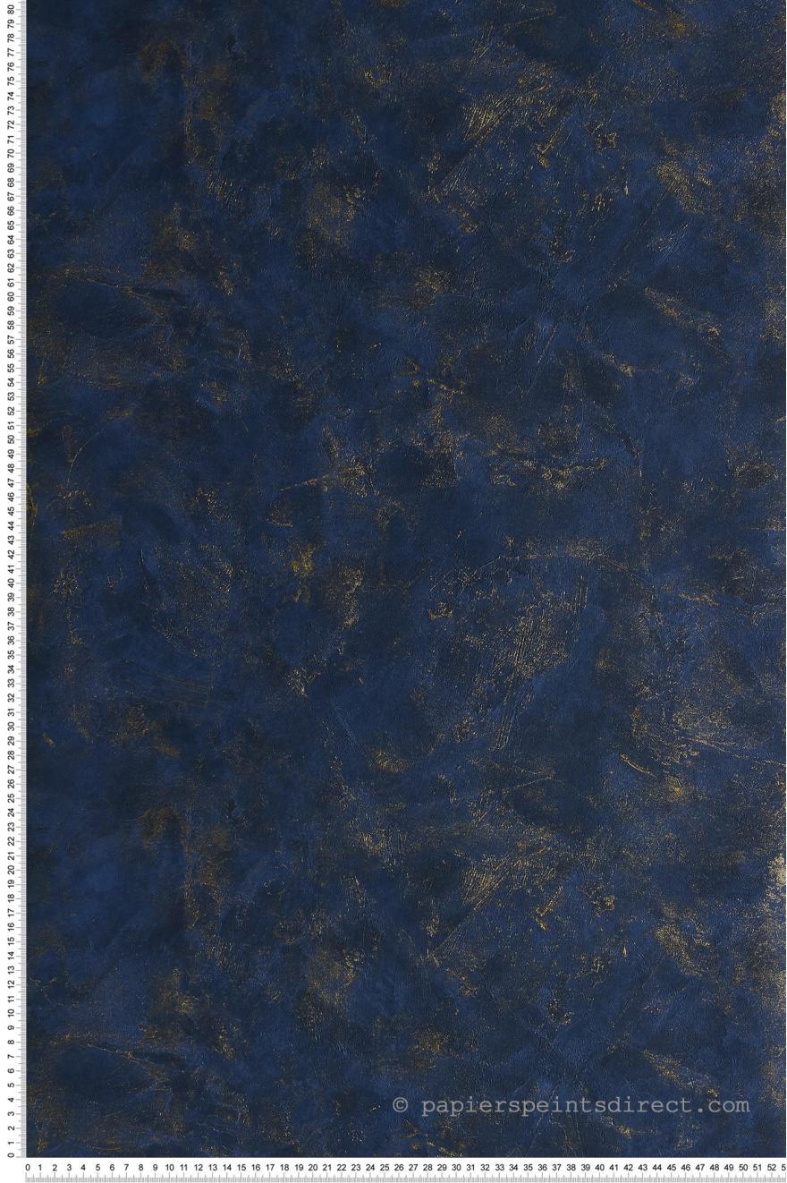 Papier Peint Bleu Et Or.Papier Peint Effet Beton Bleu Marine Or Patine De Caselio