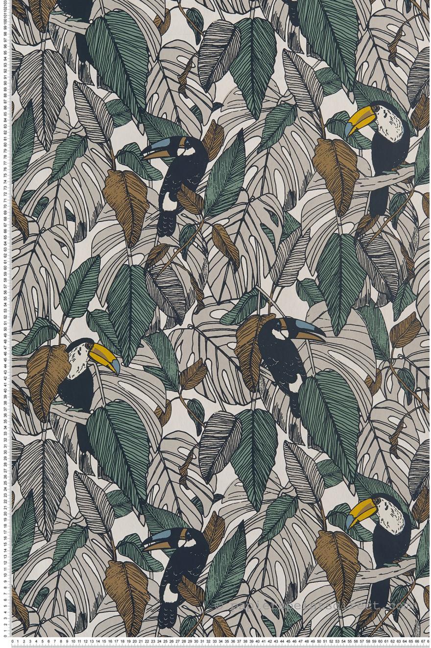 Papier Peint Toucan gris   Portfolio de Casamance | Réf. CAS 73950133