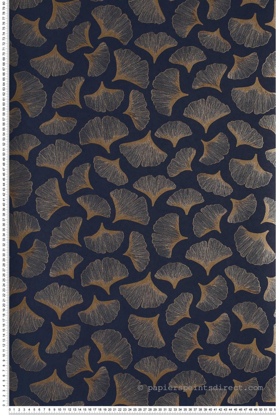 Papier Peint Ginkgo Bleu Marine Portfolio De Casamance Réf Cas