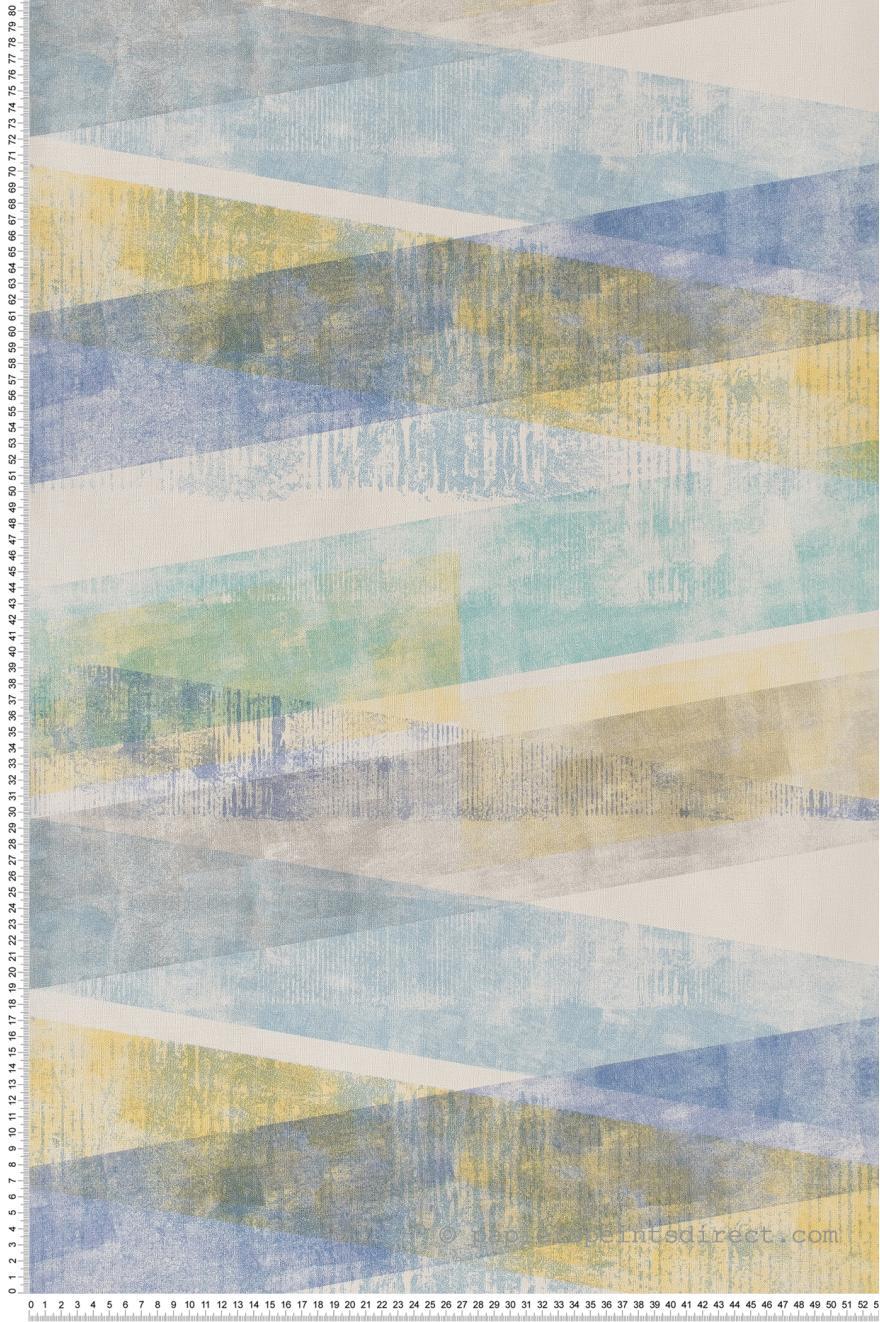 Papier Peint Douces Formes Geometriques Bleujaune Retro Vintage De