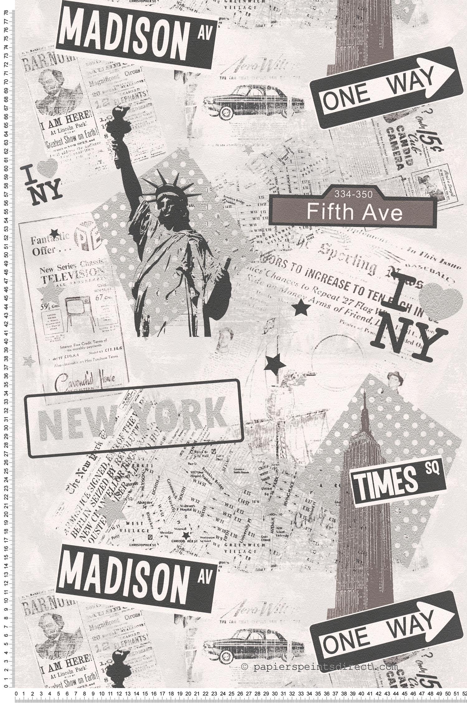 6 Rouleaux AS CREATION papier peint Papier Papier Peint 936251 9362 5-1 Gris Metallic NEW YORK