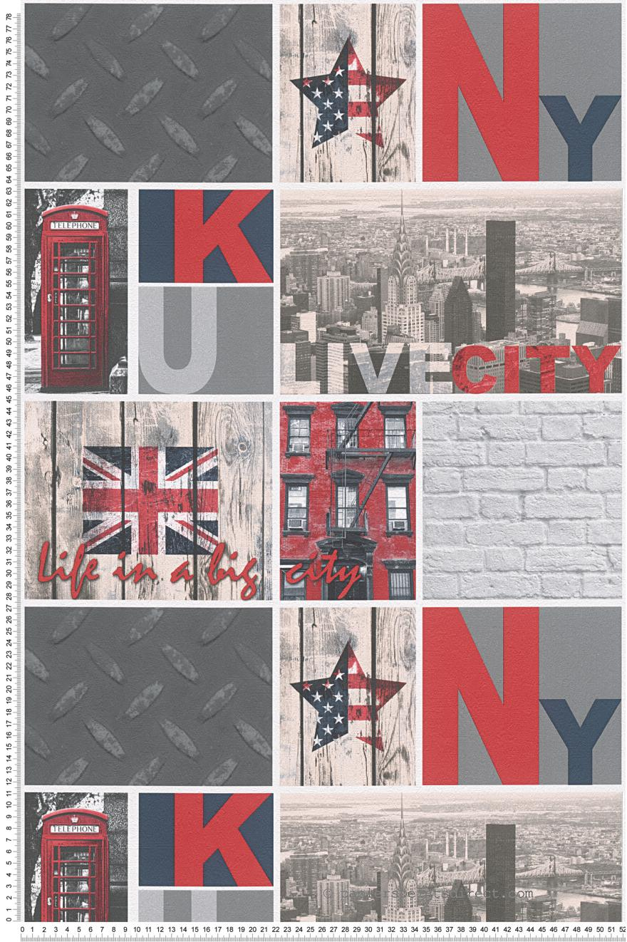 Papier peint London  New York rouge   Boys and girls 5 AS Création
