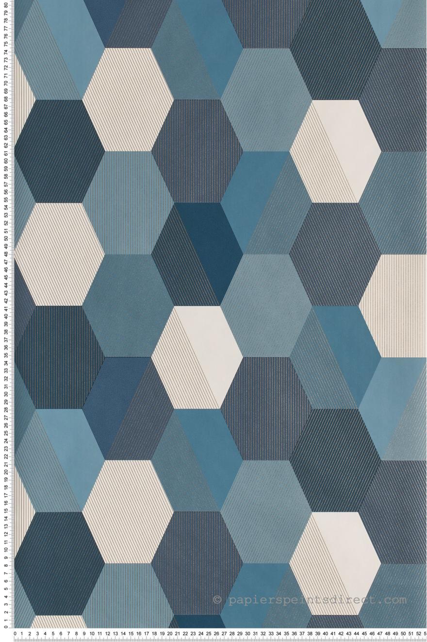 Papier Peint Hexagon Bleu Canard Spaces De Caselio