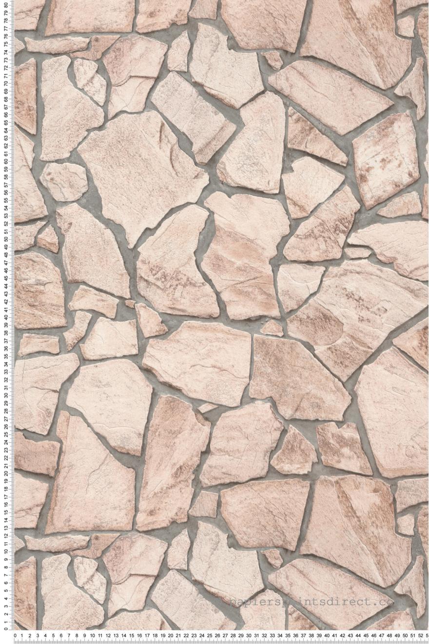 Papier Peint Dalles Pierre Beige Rose Wood N Stone 2 D As Creation