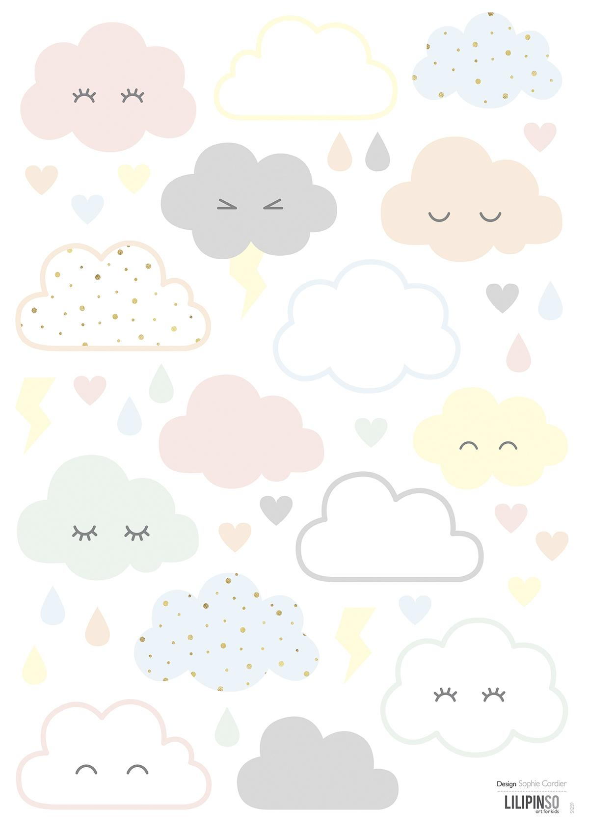 Stickers nuages rieurs pastels - Stickers Lilipinso