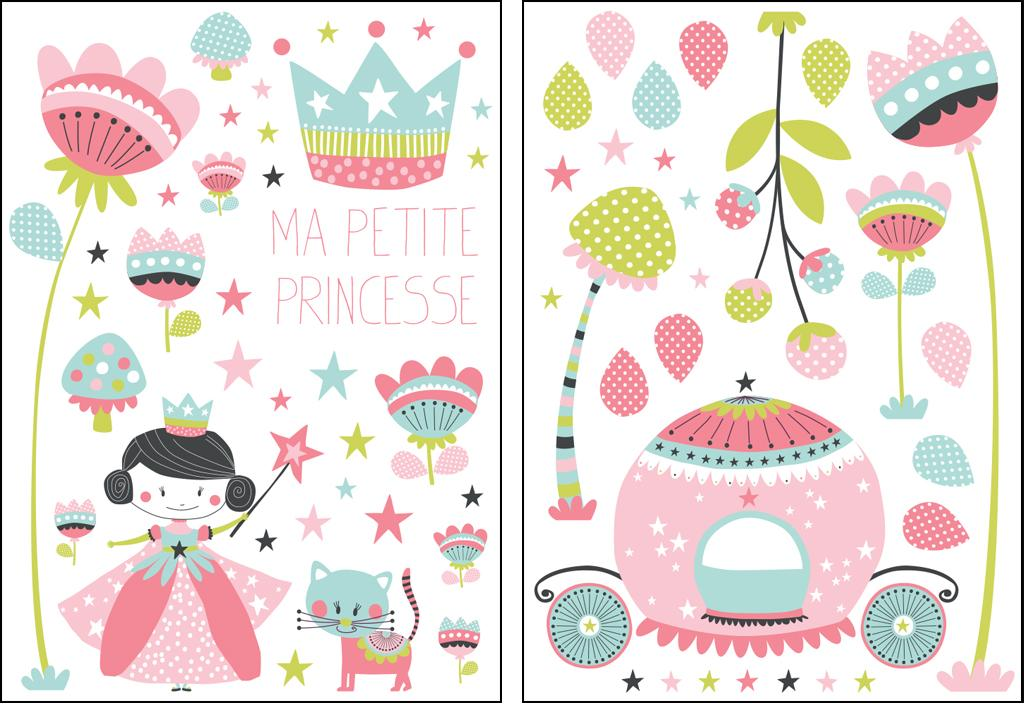 Stickers Princesse rose-céladon-vert - Collection Sélène & Gaïa de Lutèce