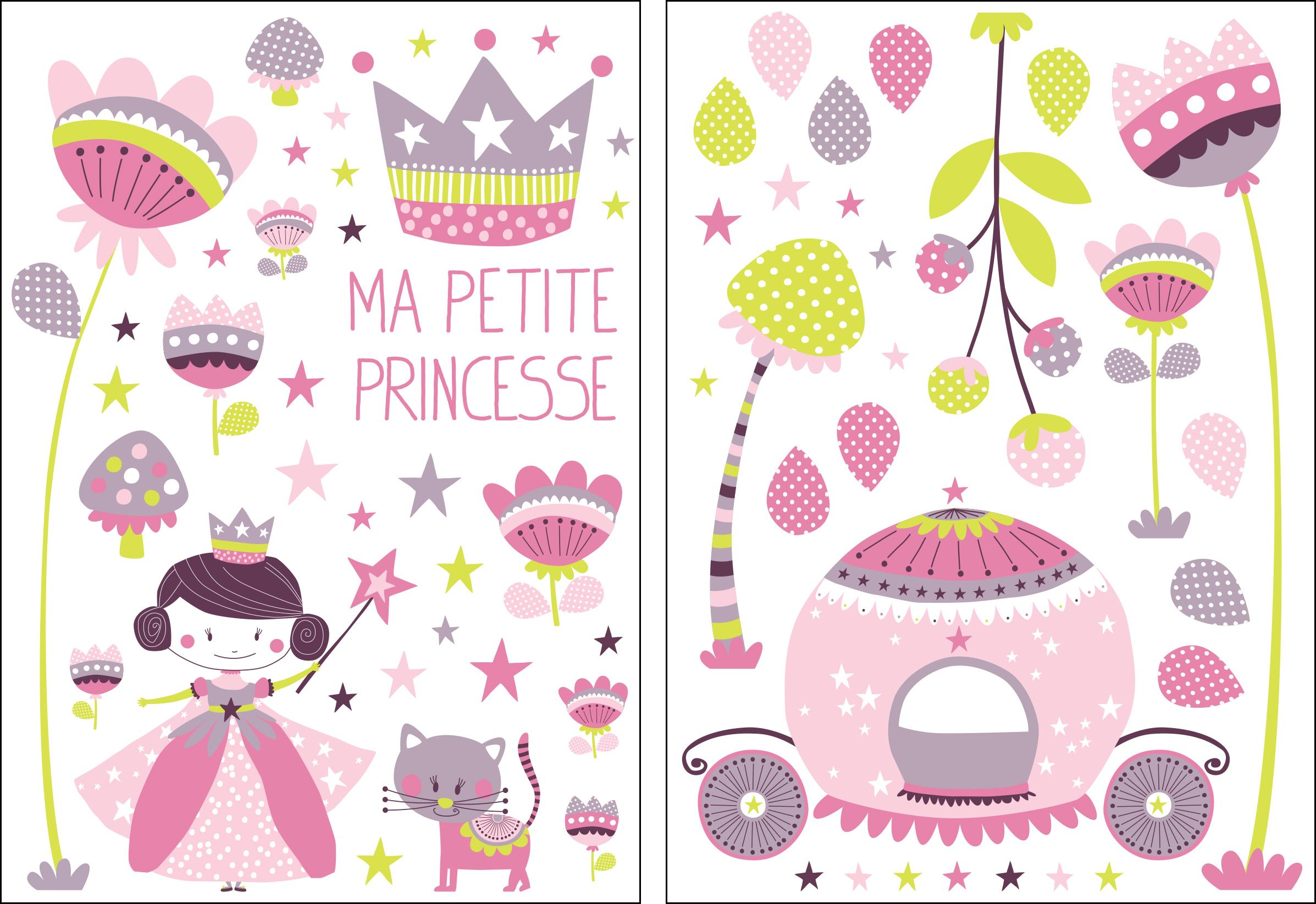 Stickers Princesse rose-violet-vert - Collection Sélène & Gaïa de Lutèce