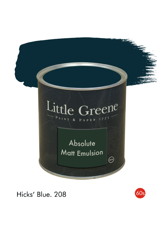 Hicks' Blue (1960s) n°208. Peinture Absolute Matt Emulsion Little Greene