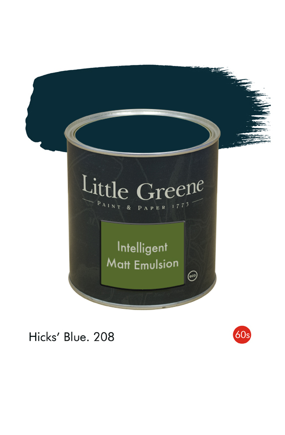 Hicks' Blue (1960s) n°208. Peinture Intelligent Matt Emulsion Little Greene