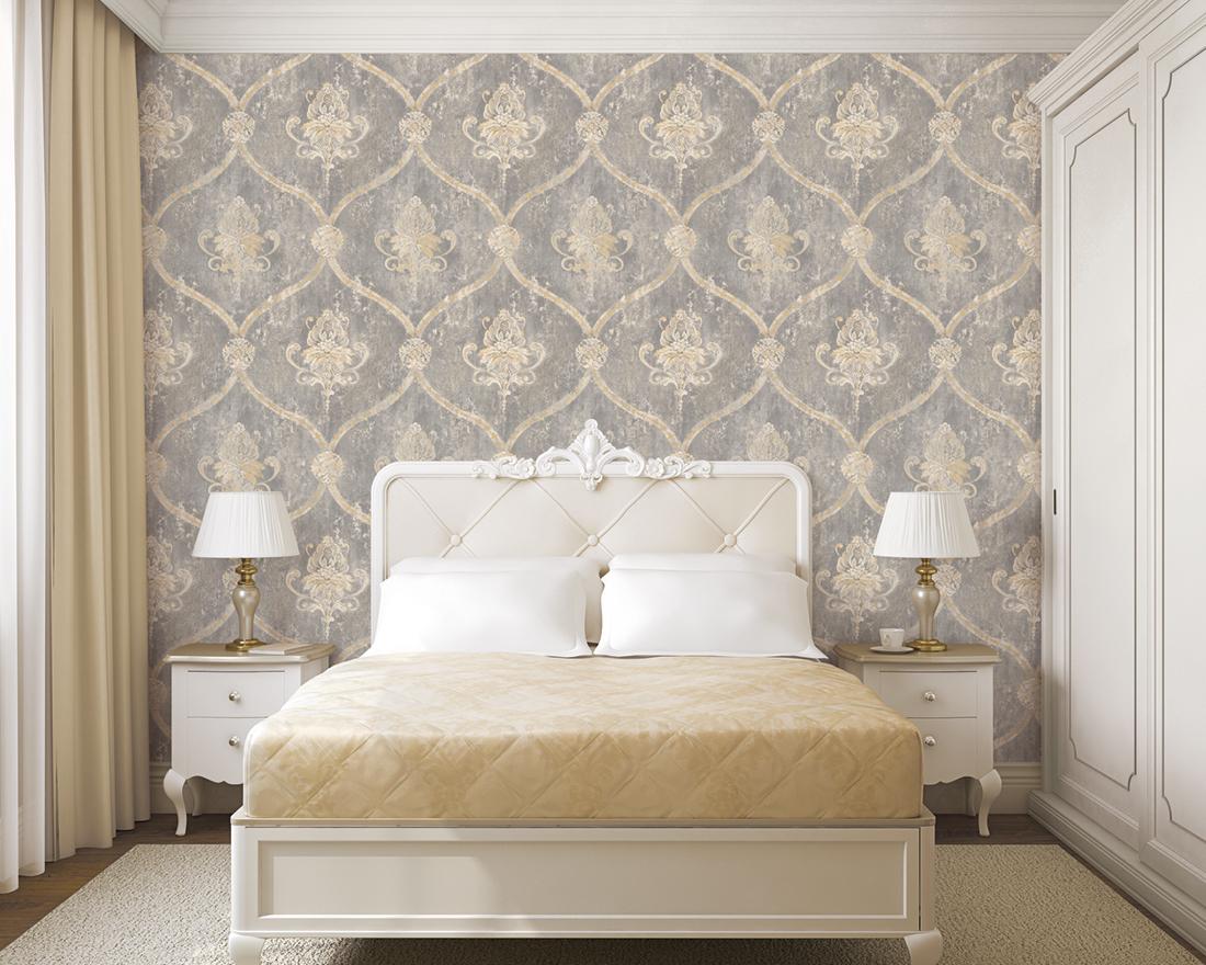 Amb Papier peint Médaillon veilli gris - Beaumanoir de Lutèce | Réf. LTC-MH36506