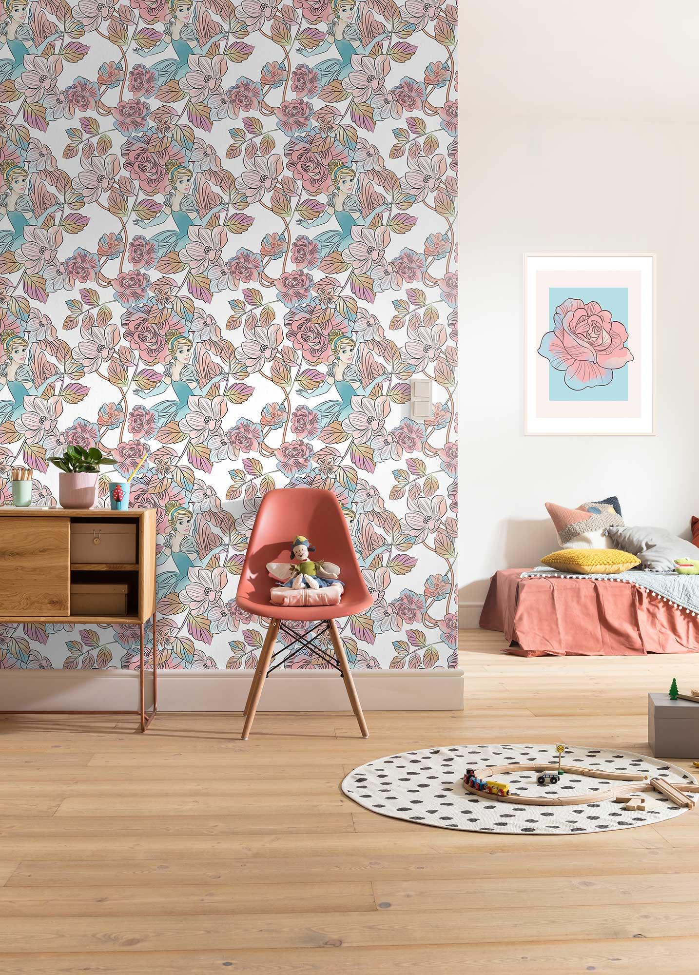 Papier peint enfant Disney Cinderella Blossom - Papier peint panoramique Komar AMB