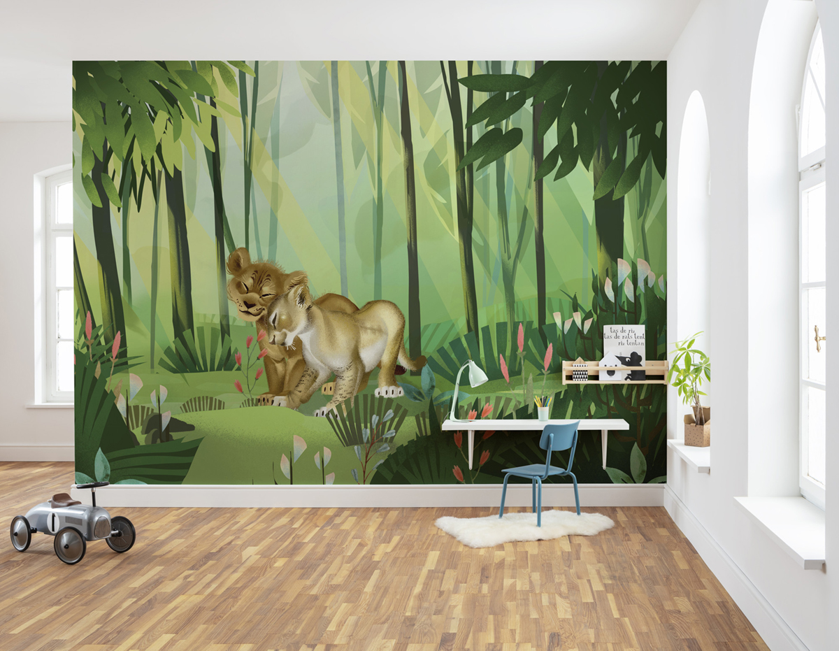 Papier peint enfant Disney jungle Roi Lion Love - Papier peint Panoramique AMB Komar