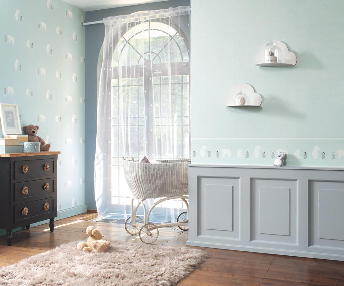 Papier peint enfant Flocons bleu - Happy Dreams de Casadéco AMB   Réf. HPDM82836127