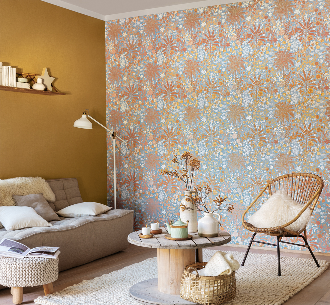 Papier peint jungle tropicale Hope bleu/terracotta/camel - Hygge de Casélio AMB | HYG100596524