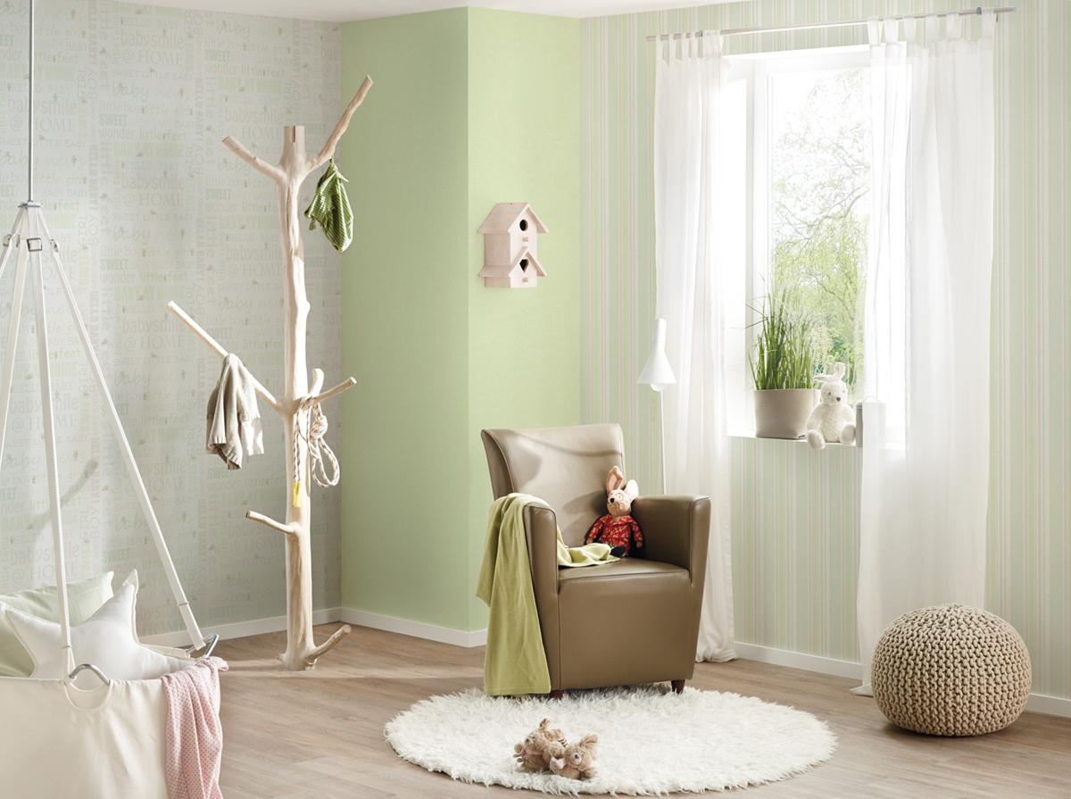 Papier peint uni vert pistache clair - Little Stars de AS ...