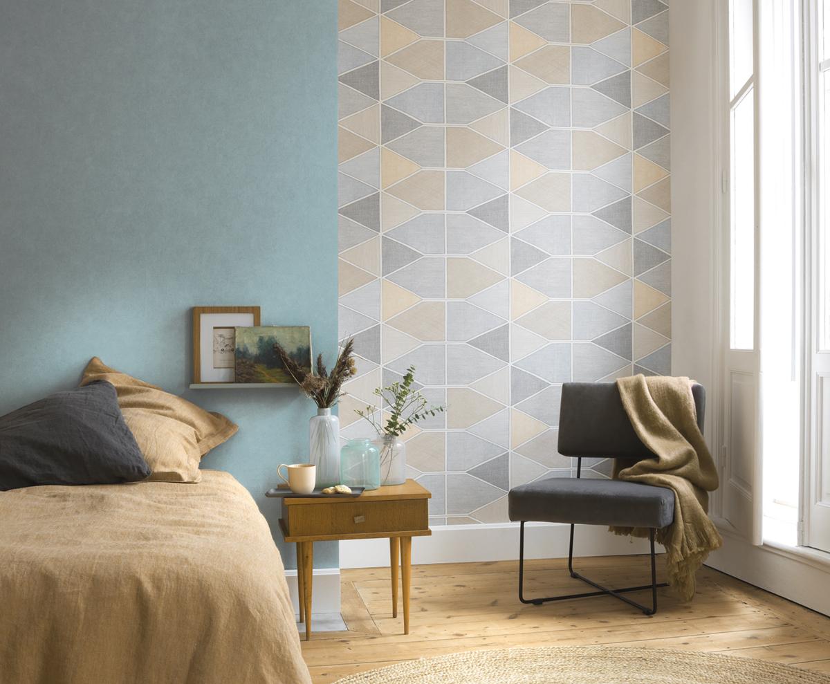 Papier Peint Entree Moderne papier peint graphique stella color beige/gris - nova de