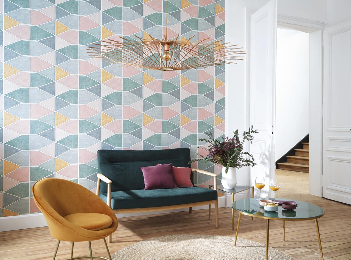 Papier peint graphique Stella Color multicouleurs - Nova de Casadéco AMB 2   Réf. NOVA84157434