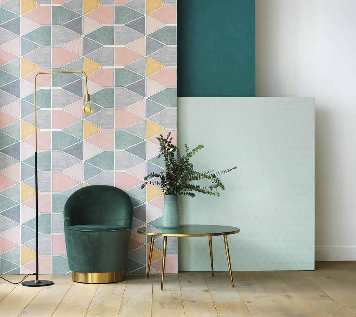 Papier peint graphique Stella Color multicouleurs - Nova de Casadéco AMB 3   Réf. NOVA84157434