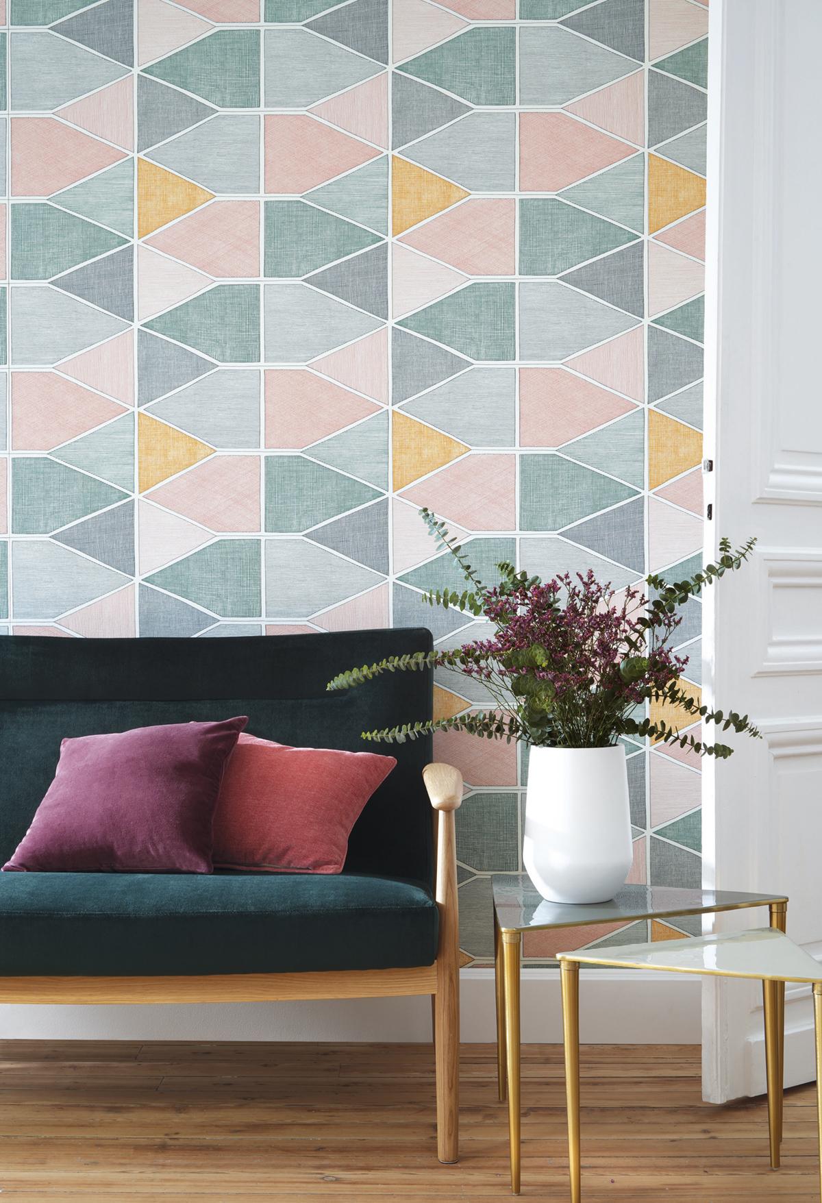 Papier peint graphique Stella Color multicouleurs - Nova de Casadéco AMB   Réf. NOVA84157434