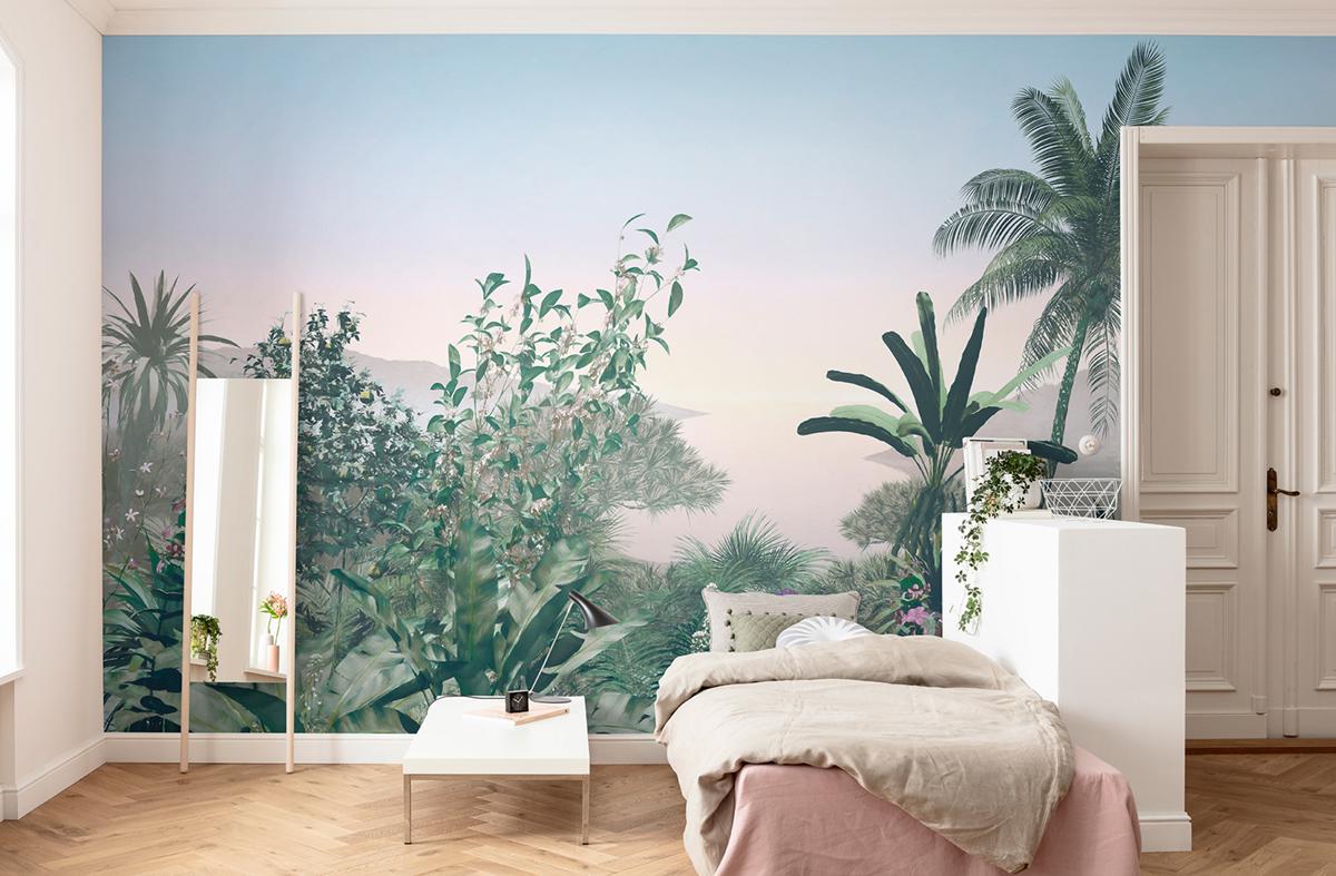 Papier Peint Panoramique Paysage papier peint panoramique jungle matin - papier peint komar