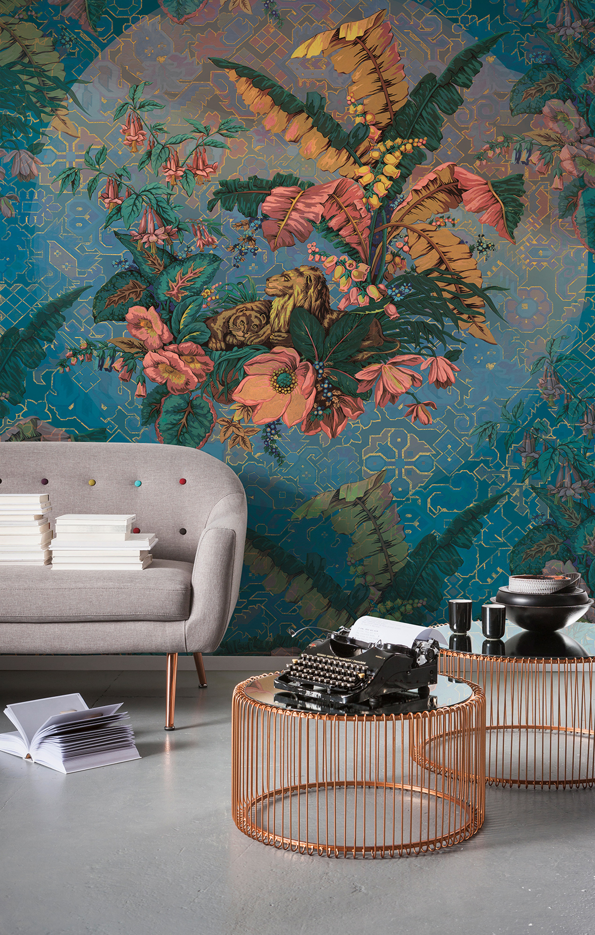 Papier peint panoramique nature Orient Bleu - Papier peint Komar Heritage AMB