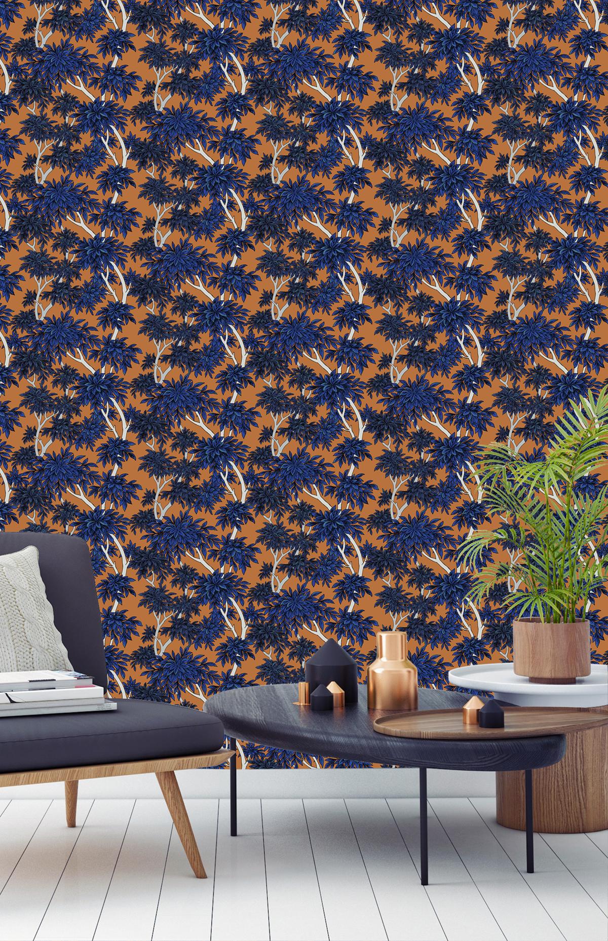 where can i buy really comfortable discount shop Papier peint panoramique forêt nature Panache orange/bleu ...