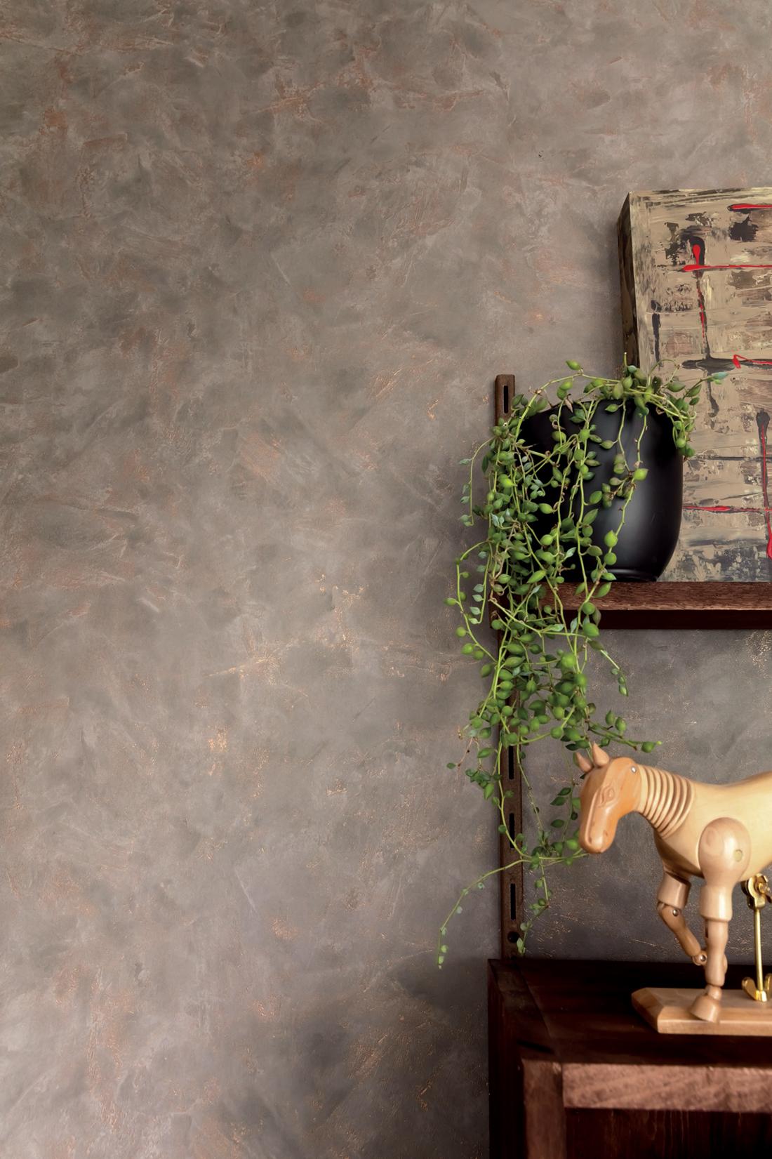 Amb 2 Papier peint Effet béton taupe cuivré - Patine de Casélio | Réf. PAI100222234